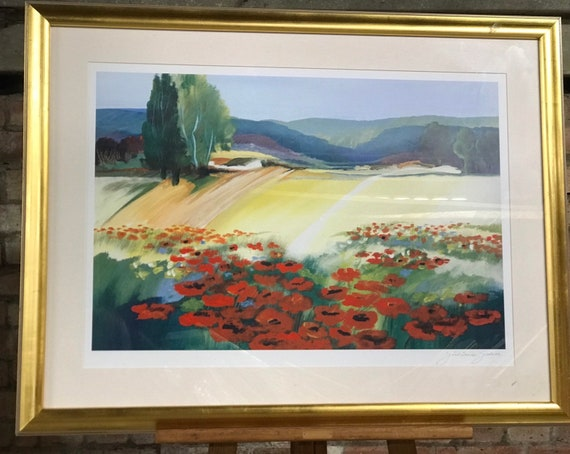 Beautiful Large Framed Print Titled Poppy 1 Signed By The Artist Juliane Jahn