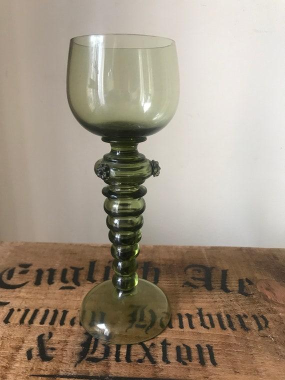 Wonderful 19th Century German Olive Green Roemer Glass Goblet