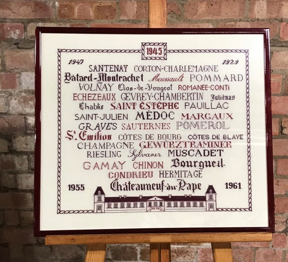 Wonderful Vintage Sampler Embroidery Needlepoint Of French Red Wine Regions