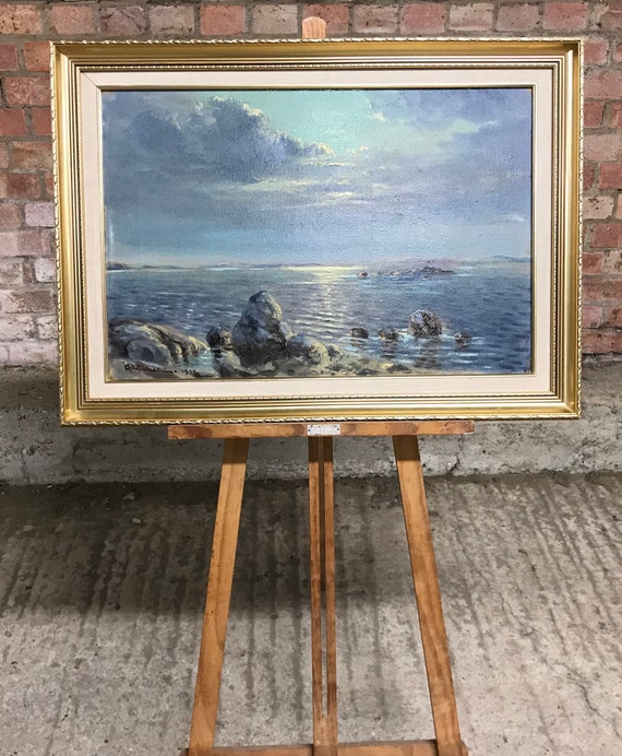Fabulous Seascape Oil Painting On Canvas By A Wilkinson Dated 1928