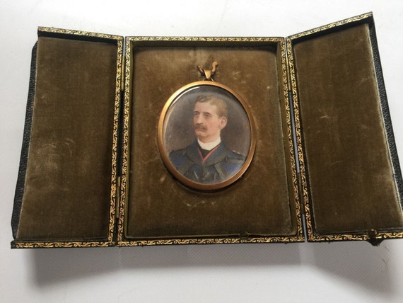 Superb 19th Century Miniature Watercolour Portrait of a Military Gentleman