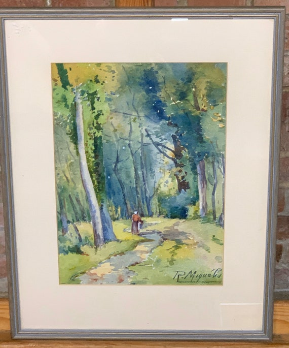 Wonderful 19th Century Watercolour Signed By The Artist R Miguelis