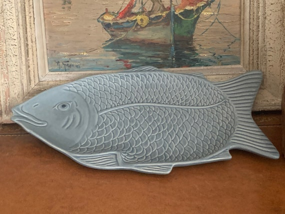Beautiful Vintage Large Ceramic Fish Shaped Serving Platter Dish - Duck egg blue in colour