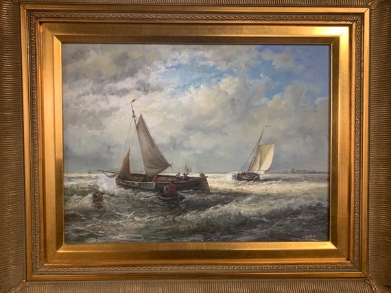 Superb Seascape Oil On Canvas Depicting Boats On The Sea By the Scottish Artist, Johnny Gaston who was born in Glasgow in 1955