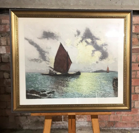 A Limited Edition Coloured Seascape Etching By Heran Chaban 232/350
