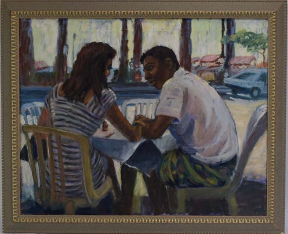 Fabulous Sylvia Molloy Oil On Canvas 'Cafe Lovers