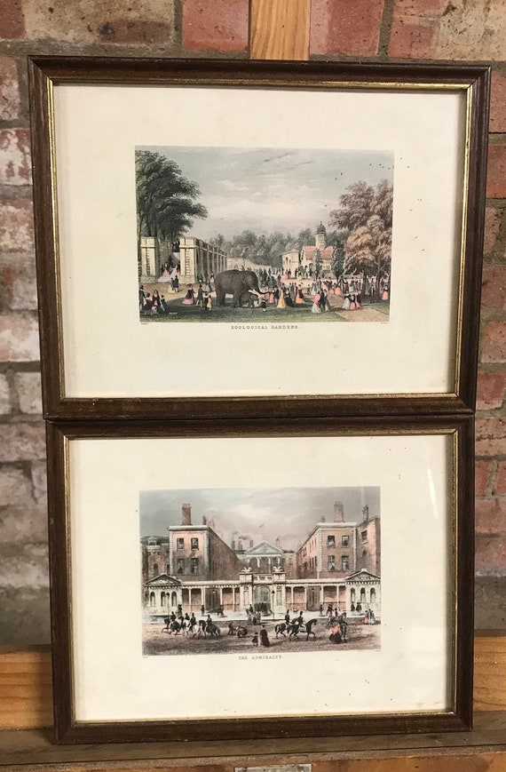 Pair Of Coloured Engravings 'The Admiralty' & 'Zoological Gardens' circa 1850