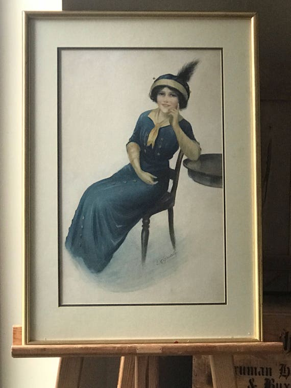 This is a Superb, Rare Original Commercial Fashion Watercolour Portrait Of A Young Woman towards the end of the very fashionable Art Noveau