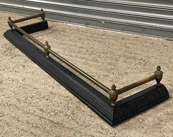 Beautiful Antique Early 1900's Brass And Cast Iron Fire Fender.