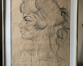 1970's Female Americana Art Caricature By Don Pottratz Pencil Charcoal Sketch Drawing