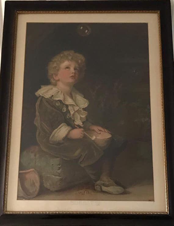 Very Large Antique Oak Framed Print Of The Famous Bubbles Pears Advertisement