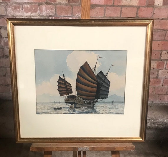 Original Watercolour By Abu Baker Ibrahim (1925-1977) - Study of a ship at sea