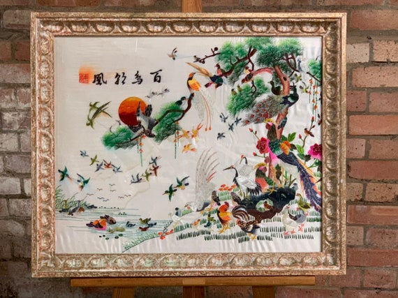 Wonderful Framed & Glazed Vintage Oriental Chinese Silk Embroidery Depicting Various Types of Birds on a River Bank