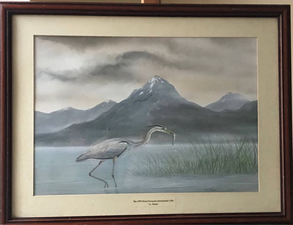 Original Watercolour Of A Heron By John Rolfe Dated 1990