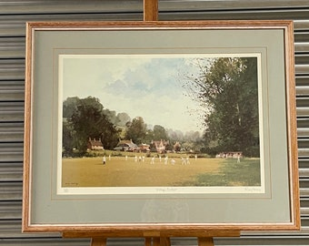 Lovely Framed & Glazed Roy Perry Limited Edition Print 'Village Cricket' 255/500
