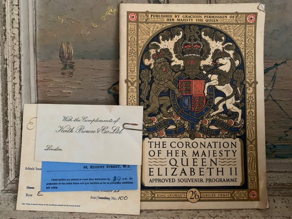 The Coronation of Her Majesty Queen Elizabeth Approved Souvenir Programme 2nd June 1953 along with the Coronation Procession Invitation