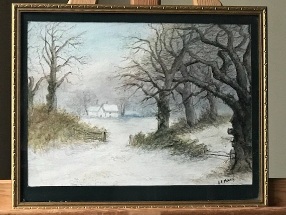 An Original Circa 19th Century Winter Woodland Watercolour By A P Morris