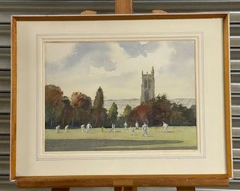 Original 1988 Watercolour Of A Village Cricket Match Scene By H Newman
