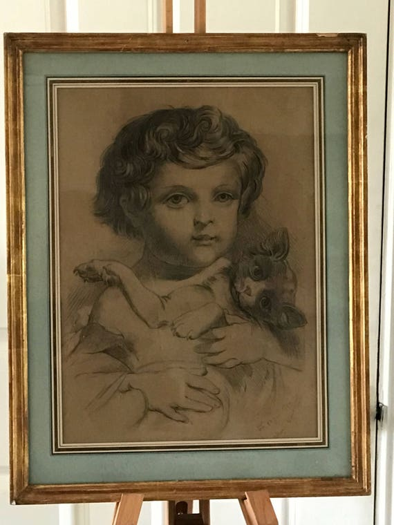 Wonderful 19th Century Framed Charcoal Drawing of a Child with a Kitten