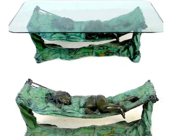 Superb Rare Bronze Cherub or Child Figural Sculpture Glass Topped Table, after Auguste Moreau