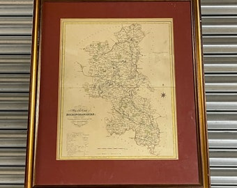 Framed And Glazed Antique Hand Coloured Map Of Buckinghamshire