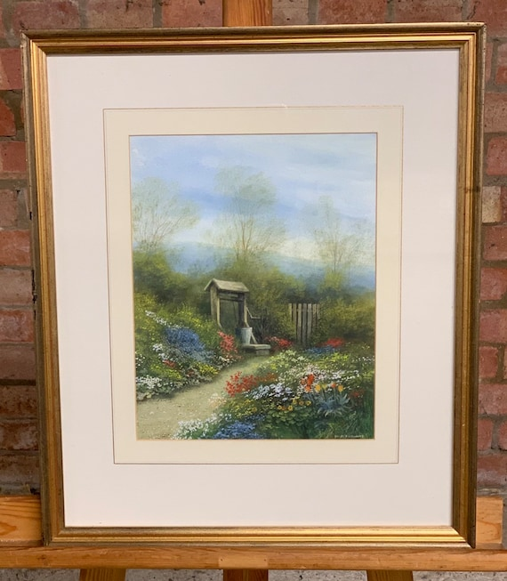 Wonderful Original early 20th Century Painting of a Beautiful Floral Garden by David Pritchard