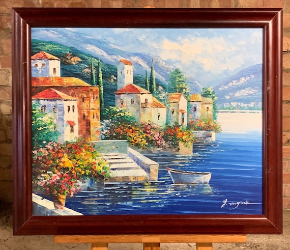Vintage Oil Painting on Canvas Of An Italian Lake Scene Indistinctly Signed By Artist Lower Right