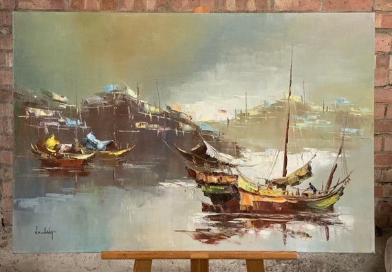 Stunning Large Chinese Seascape Oil On Canvas By W S Chiang
