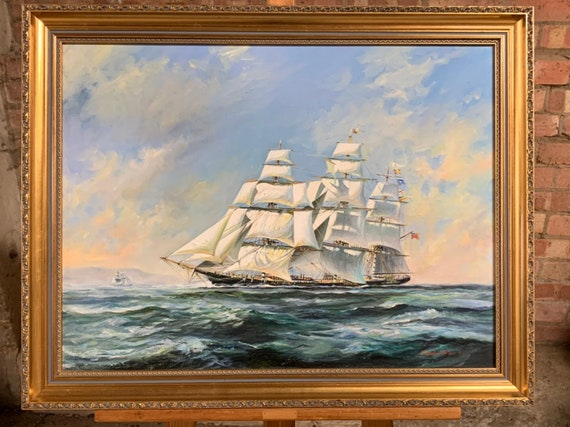 Wonderful Original Oil On Canvas By Malcolm Winter Of A Ship At Sea