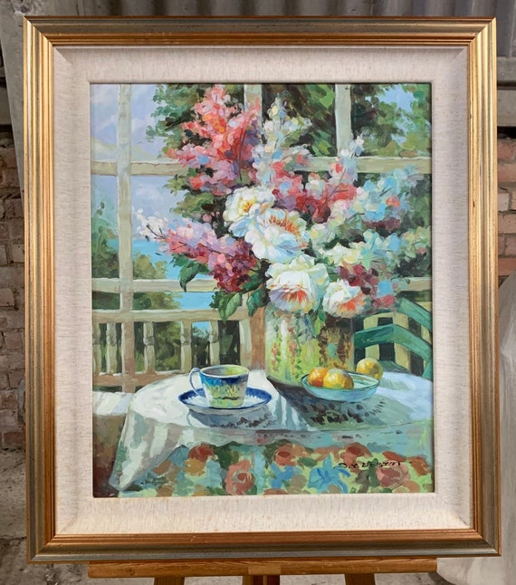 Beautiful Original Still Life Oil Painting Of A Floral Display
