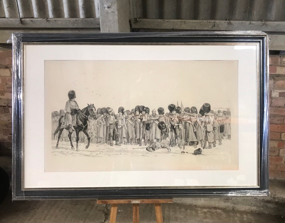 Rare 19th Century Lithograph in Progress of The Roll Call by Lady Elizabeth Butler