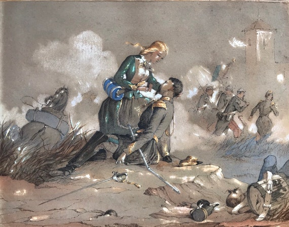 Original Artwork Depicting General MacMahon, Wounded at the Battle Of Sedan laying by his Injured Horse and being cared for by a Nurse