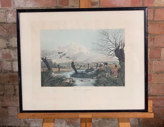 Wild Duck Shooting Near Cowley, Framed Hand Coloured Engraving by Robert Havell Jr