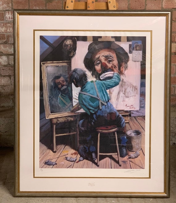 Large Framed and Glazed Artist Proof Print by Barry Leighton Jones which is of the American Circus Performer, Emmett Kelly, as Weary Willie