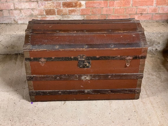 19th Century Wood And Brass Bound Travelling Trunk Or Chest