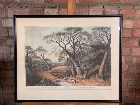 Large Vintage Framed and Glazed Print 'Woodcock Shooting'  - La Chasse Aux Becasses