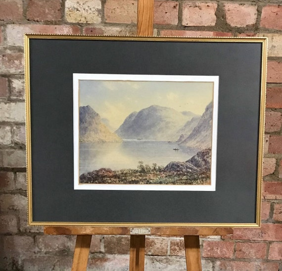 Beautiful 19th Century Watercolour Of Crummock Water, Cumbria By William Taylor Longmire, Dated 1888