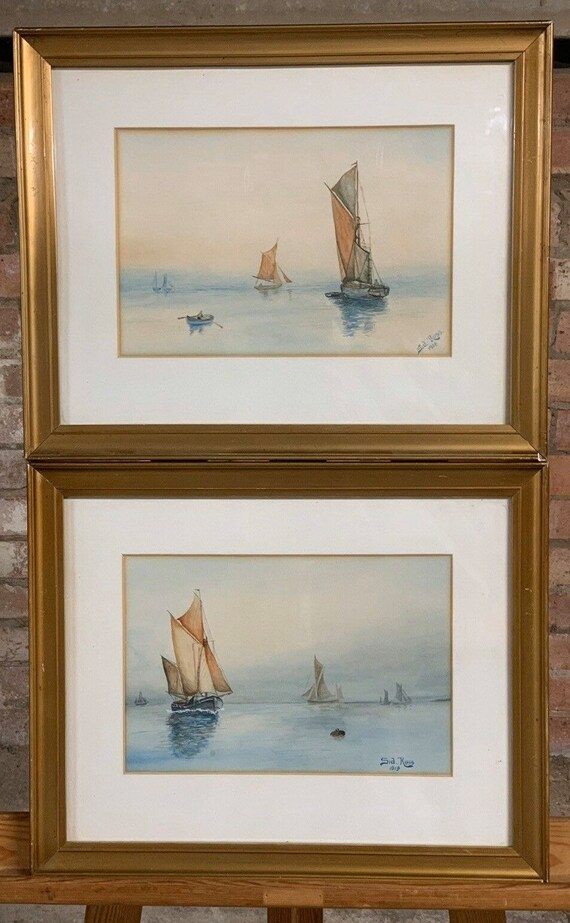 Pair Of Antique Seascape Watercolours Depicting Boats By Sid Russ dated 1914.