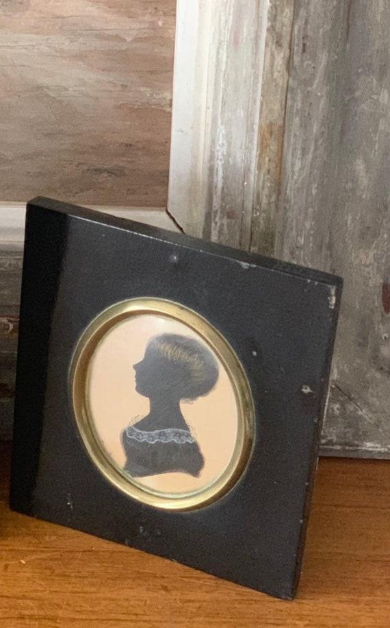 19th Century Antique Miniature Silhouette Portrait
