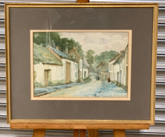 William Mainwaring Palin Watercolour Titled 'A Normandy Village' Dated 1945