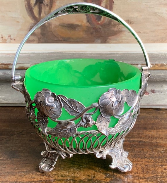Gorgeous Vintage Decorative Silver Plate and Green Glass Serving Bowl - circa 1920's