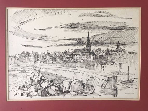 An Original A. Brockie Stevenson Signed Pen & Ink Of Dunleary, Dublin Ireland