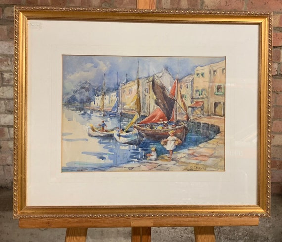 Beautiful Original Gilt Framed Watercolour Of Boats In A Harbour By C Glover with children at the quayside