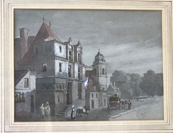Beautiful 19th Century Watercolour Dated 1834 of The Prison Amboise On The Loire, France