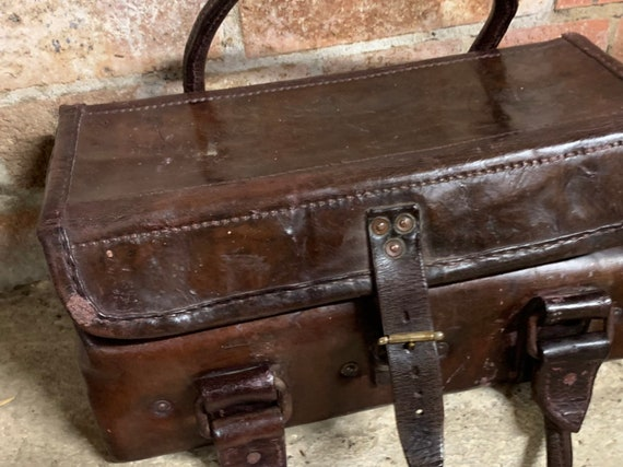 19th Century Antique Leather Doctors Bag or Tool Bag Carrier With Metal Liner