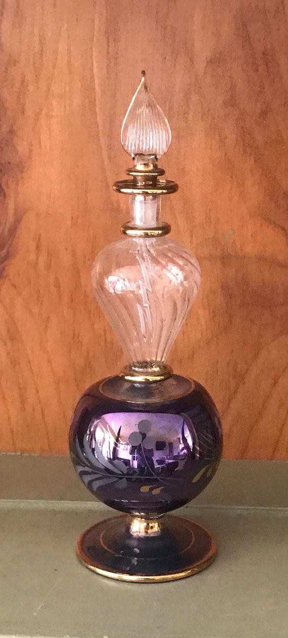 Lovely Delicate Ornate Vintage Glass Perfume Bottle
