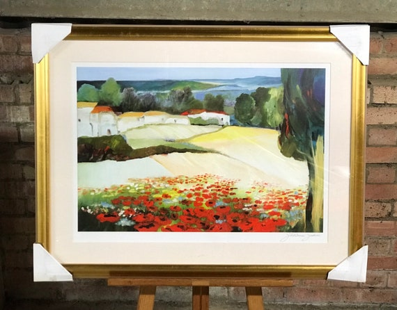 Beautiful Large Framed Print Titled Poppy 2 Signed By The Artist Juliane Jahn