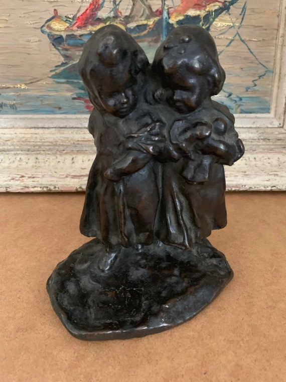 19th Century Victorian Bronze Sculpture Of Two Young Girls Linking Arms, One with a Doll in Her Arms