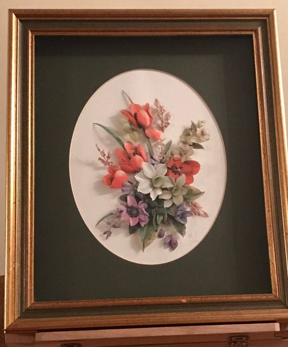 Wonderful 3D Effect Framed Flower Artwork Arrangement Dated 1985