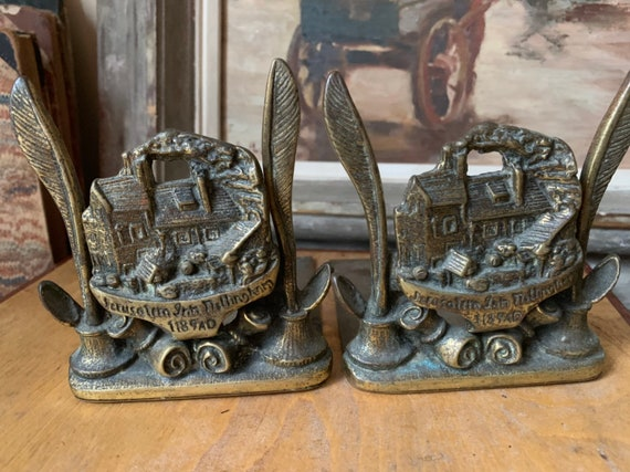 Vintage Brass Bookends Of The Oldest Pub in England, Inscribed Jerusalem Inn Nottingham 1189AD